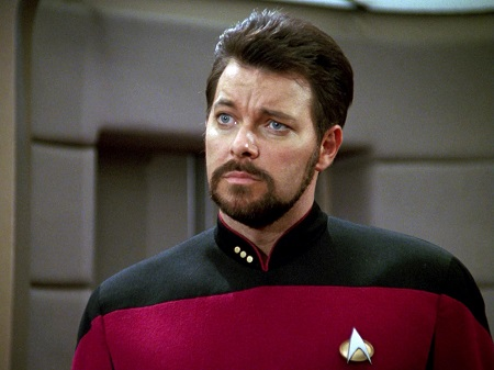 American actor and director, Jonathan Frakes as Commander William T. Riker in Star Trek: The Next Generations