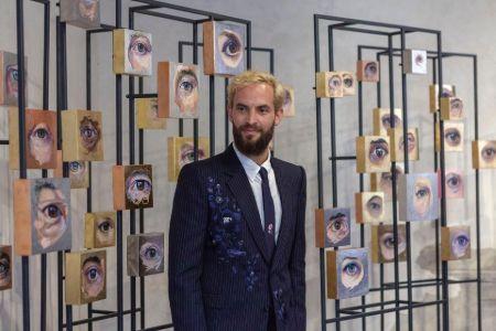Sandro Kopp with his new artwork mEYEcelium at Palazzo Grimani Museum in Venice