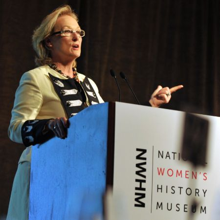 Streep giving a speech at a charity event at the National Women's History Museum