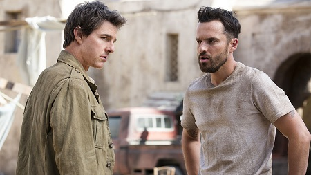 Jake Johnson and Tom Cruise during the shooting of Mother