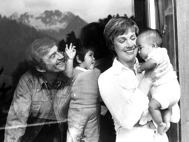 Julie Andrews with her then-husband, Blake Edwards, and their two adopted children