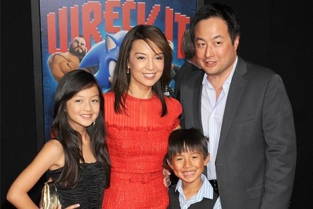 Ming-Na Wen with her husband and kids